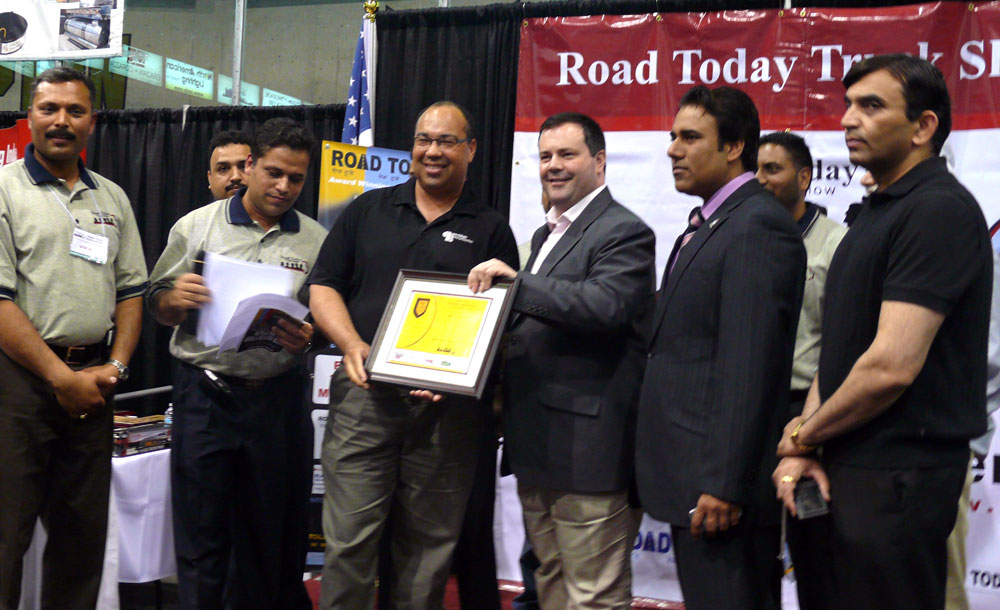 Bruce is awarded the Road Today Trucking Ambassador of the Year
