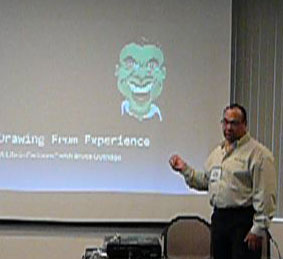 Bruce teaching caricature